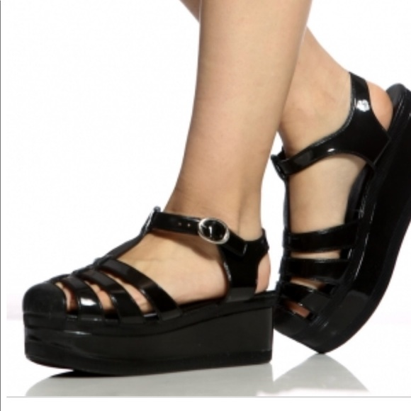 0cb37db57c68 Black Jelly Platform Sandals by Wanted size 10. M 5a7c8cc445b30caa7bc45180